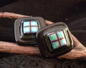 Fused Dichroic Glass Mens Cuff Links