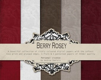 Digital Scrapbooking Paper Pack - BERRY ROSEY - Commercial License