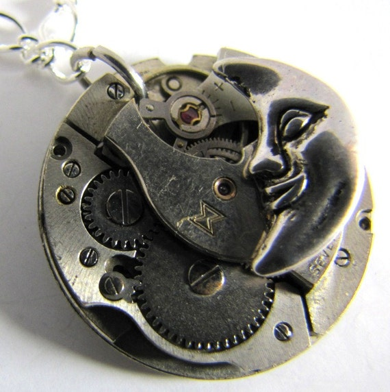 Steampunk No. 717 Moon on Vintage Movement Necklace with 17 inch Silver Tone Chain