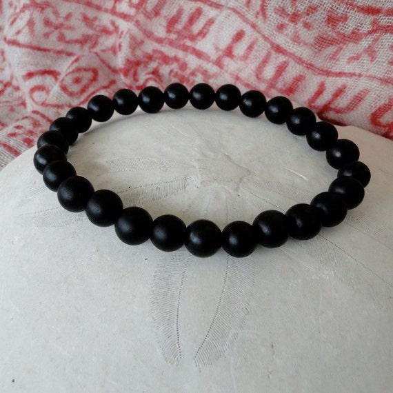 MEN'S  ONYX  mala bead  bracelet