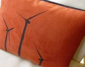 WIND POWER SET OF 2 hand printed throw pillows ( rust polyester leather suede )