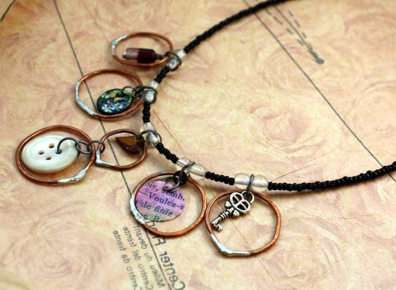 SALE - Bubbles Ascending Necklace - Soldered Copper Rings, Mixed Media Charms