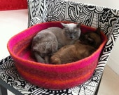 simple cat bed, dog bed custom order felted wool