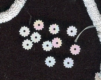 Vintage Pearlized AB Snowflake Sequins Embellishments 5mm