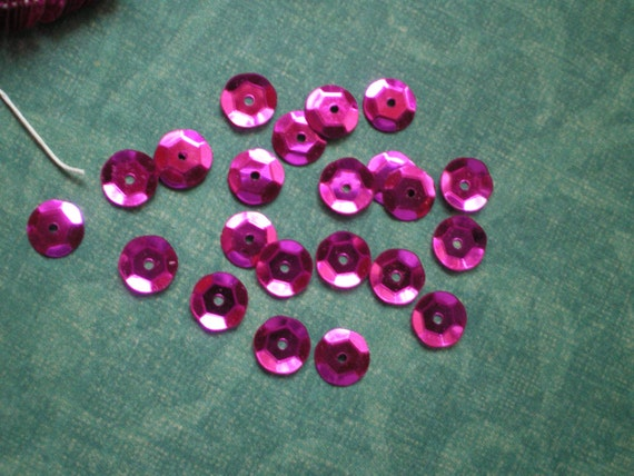 Vintage Luscious Fuchsia Cupped Sequins 6mm