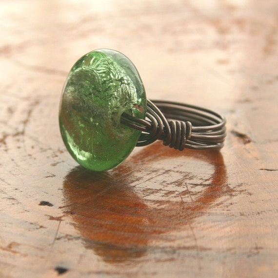 Wire Wrapped Ring with Big Green Glass Bead