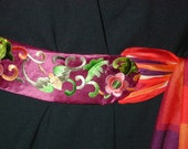 Vintage Chinese silk embroidery Belt with designer scarf ties