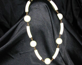 Ivory vintage lucite on brass necklace
