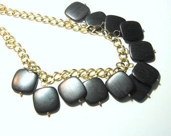 SALE ITEM.  Tiger Ebony Wood on Brass Necklace