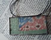 Vintage Quilt Pendant - Farmer's Picnic, Reversible