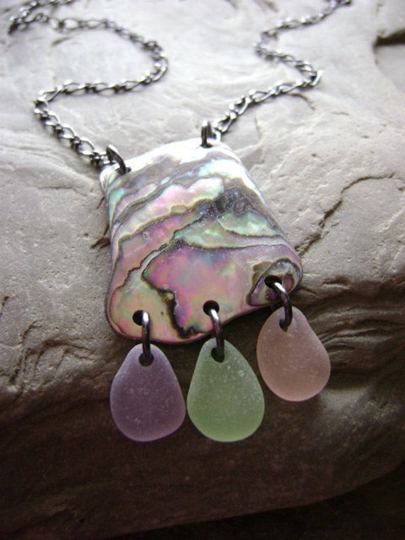 Baby Octopus - Genuine Beach Sea Glass and Natural Abalone Pendant on Long Necklace by beachglow