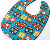 Baby Bib - Organic Baby Bib - Toy Trains