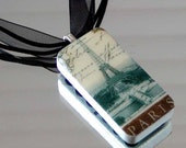 Eiffel Tower PARIS Altered DOMINO NECKLACE Vintage France Image Black Multi-Strand Ribbon Cord Slate Gray Chocolate Brown