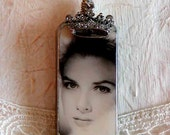 Princess Grace ALTERED DOMINO NECKLACE with Crown Embellishment Grace Kelly