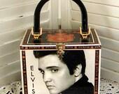 Unique ELVIS PRESLEY Altered Cigar Box PURSE Young Elvis Pics