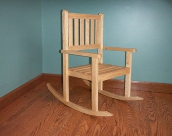 Children's oak rocking chair with 12 inch seat- clearcoat