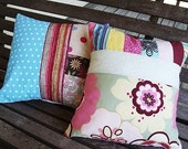 One of a Kind Scrappy Pillows WITH pillow FORM, throw pillows, READY to ship