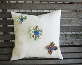 Throw Pillow, Three Little Blooms, Organic Hemp, 14x14 inch WITH PILLOW FORM