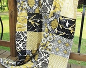 Toddler Bed Quilt with Minky Dot, Aviary 2 in granite, black grey yellow patchwork, PLUSH for children
