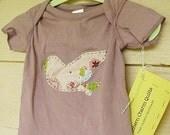 Tshirt, Handstitched Bird in Flight , Grape, 18 months, fresh modern handmade baby, READY to SHIP, SALE