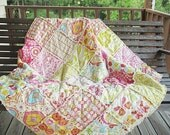 Picnic Quilt Throw, Rag, Kumari Garden in pink, ALL NATURAL, fresh modern handmade