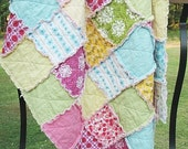 Baby Crib Quilt, Rag, Sorbet, Girl, blue green pink yellow, all natural, fresh modern handmade, READY TO SHIP