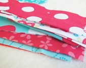 DESTASH fabric, Aqua and red bundle, 6 inch