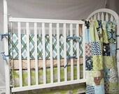 Baby Bedding, 4-piece, Minky Dot crib quilt, bumper, skirt, and minky fitted sheet, Modern Meadow Mix, fresh modern handmade, PLUSH for baby