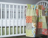 Baby Bedding, 2-piece, Minky Dot crib quilt, and skirt, Modern Meadow in Sunglow, fresh modern handmade, PLUSH for baby