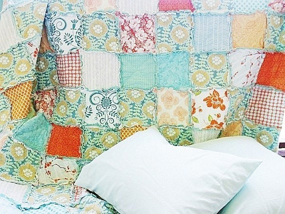 Queen Size Rag Quilt with 2 Shams, You Pick Fabrics