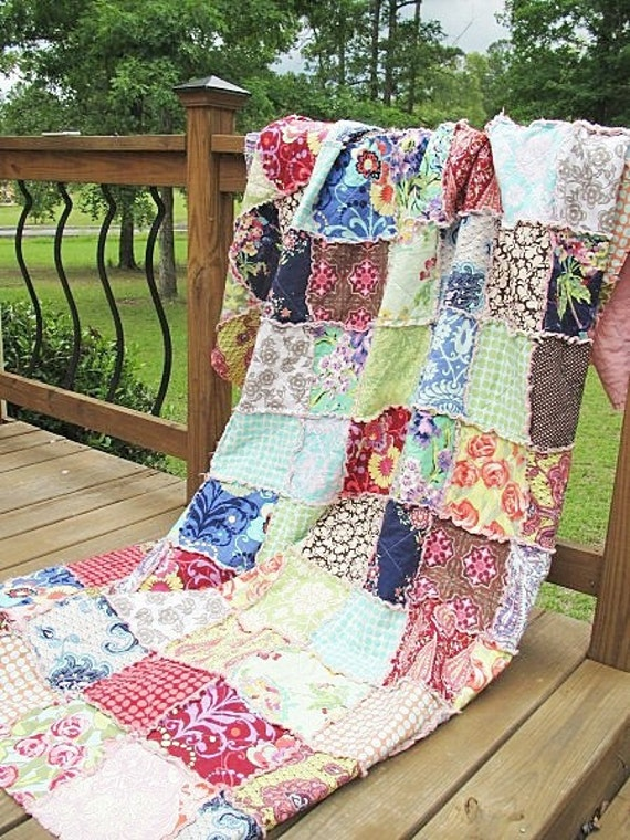 RESERVED for Brandi N, made with customers fabric,  Queen Size Quilt, Rag, ALL NATURAL, fresh modern handmade