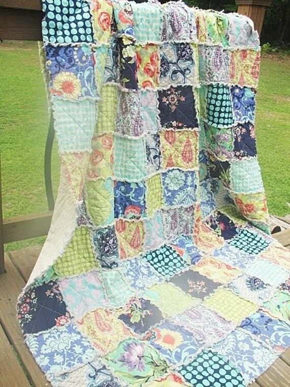 Sale 15% off, Full Size Quilt, Rag, Love in Soul, navy blue green, ALL NATURAL, fresh modern handmade, READY to ship