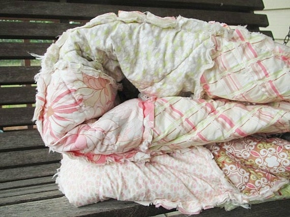 RESERVED for Sarah, Queen Size Quilt, Rag, Coquette in Nude, pink, ALL NATURAL, fresh modern handmade bedding