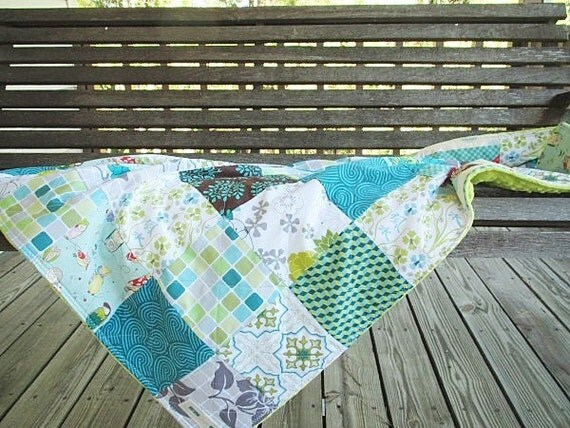 Minky Crib Quilt, Owl Sanctuary, blue green gender friendly, PLUSH for baby, fresh modern handmade children, (( ONE LEFT ))