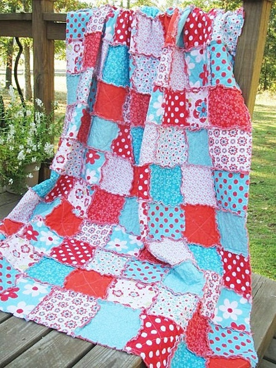 Rag Quilt Patterns For Twin Bed : Items similar to Twin Size Quilt, Rag, Sugar Sweet, turquoise and red, Girl, ALL NATURAL, fresh ...