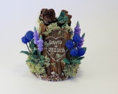 Small Custom Wedding Cake Topper Tree Stump Sculpture Keepsake Example - Hiking Boots, Lupine and Hydrangeas - David and Jessica
