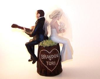 Polymer Clay Custom Personalized Tree Stump Wedding Cake Topper Sculpture Keepsake Example - Bride, Groom and Guitar