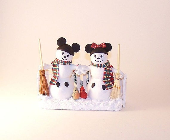Custom Personalized Character Wedding Cake Topper Snowmen wth Mickey Ears Disney Inspired  - Paul and Victoria