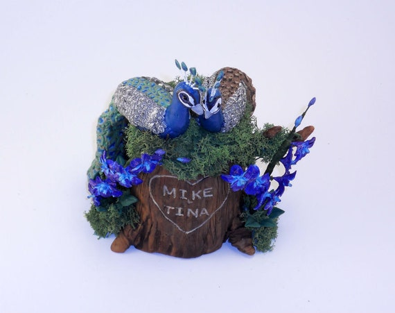 Small Custom Personalized Wedding Cake Topper Tree Stump Sculpture Keepsake Example - Peacocks and Orchids - Mike and Tina