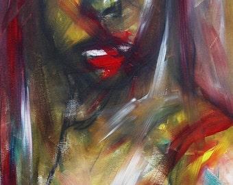"""Kelli Dubay Original Fine Art Portrait Oil Painting 24""""x48""""x1.5"""" Bloody Silk Dress"""