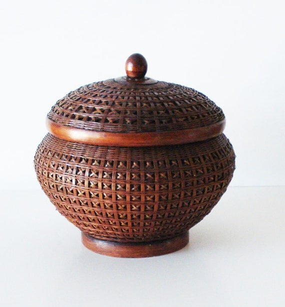 Round Ornate Basket with Lid