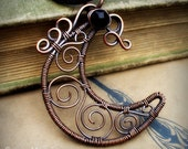 Moon Necklace- Copper  Wire Wrapped Crescent Moon Jewelry