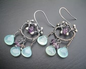 Vianne- french inspired watery blue chalcedony and sterling silver artisan earrings FREE SHIPPING