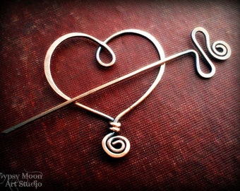 Copper Heart Brooch.  Copper Wire Heart Shawl Pin for Valentine's Day.