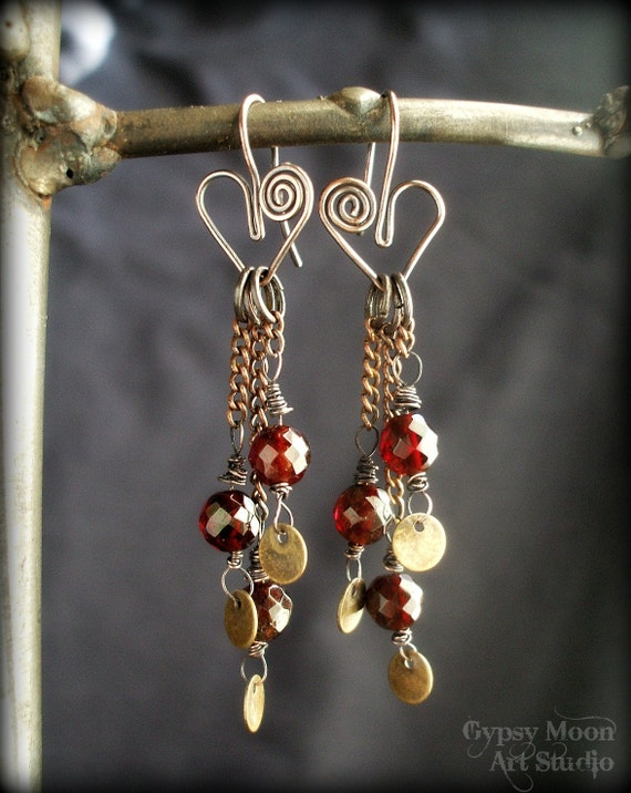 Garnet Heart Earrings.  Genuine Faceted Garnet and Hearts Wire Wrapped Earrings for Valentines Day.