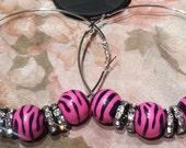 Large Pink Zebra Hoop Earrings