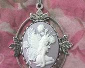 40 x 30 Lilac Fairy Cameo Pendant Necklace