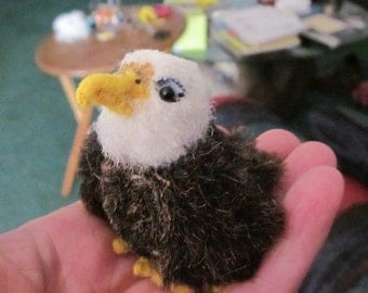 Miniature Bald Eagle plush Made to order by hand, each one is unique