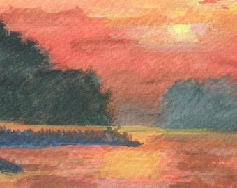 River at Sunset original watercolor