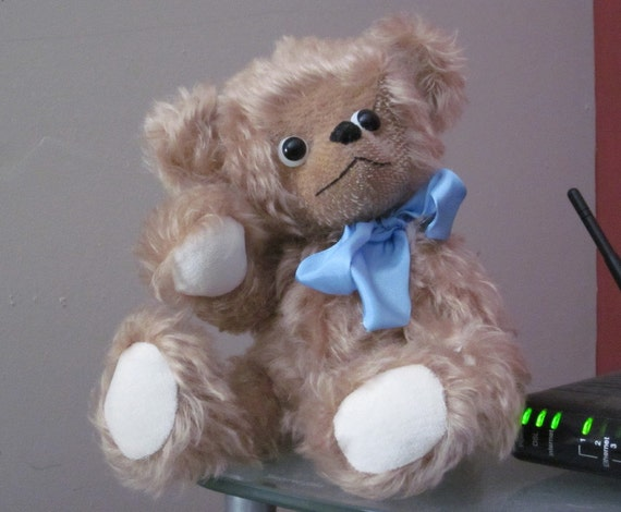 Rose Gold Mohair Teddy Bear OOAK